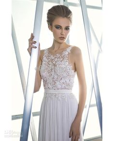 A-Line Chiffon High Neck Lace Chiffon Beach Sheer Wedding dresses Bridal Gown with Buttons up back