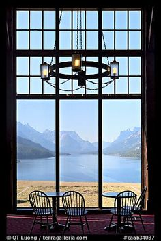 Waterton Lake seen though the immense picture windows of Prince of Wales hotel. Waterton Lakes National Park, Alberta, Canada