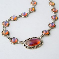 Art Deco Necklace  Dragons Breath Jelly Opal  Very Rare by pinguim, $360.00