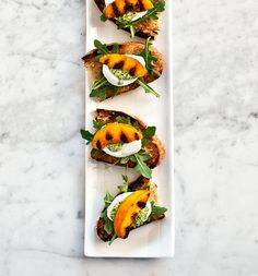 What to Make When a Vegetarian Comes to Dinner // peach pesto crostini