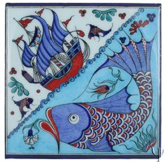 Everything related to Mosaic Art Turkish Tiles, Turkish Art, Portuguese Tiles, Moroccan Tiles, Ancient Fish, Cushion Embroidery, Vintage Tile, Iron Work, Fish Art
