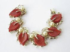 Vintage Kramer of New York Bracelet with Thermoset Deep Coral Colored Leaves Offset with Pearls and Rhinestones Free Shipping