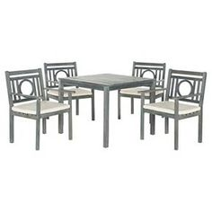 A motif of concentric squares adorned with a transitional X detail adorns the chairs of the Del Mar outdoor dining set. Masterfully crafted of sustainable acacia wood in ash grey, this sturdy furniture comes with beige all-weather cushions. Outdoor Dining Set, Patio Dining, Dining Table Chairs, Indoor Outdoor, Outdoor Living, Outdoor Furniture Sets, Garden Furniture, Arm Chairs, Furniture Decor