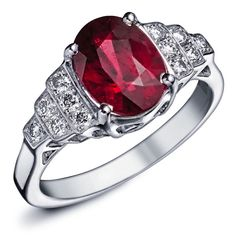 bague or blanc rubis homme
