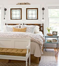 Rethink old house parts to expand your decorating palette. These 20 room designs showcase architectural salvage as fetching furnishings, arresting artworks, and as distinctive displays for vintage collections. Do It Yourself Design, Cozy Bedroom, Cottage Bedrooms, Bedroom Ideas, Master Bedrooms, Cottage Bedroom Decor, Simple Bedrooms, Bedroom Suites, Guest Bedrooms