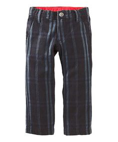 Another great find on #zulily! Jet Black Plaid Slim Twill Pants - Infant & Boys by Tea #zulilyfinds
