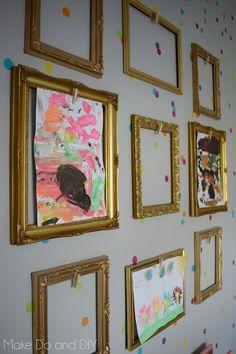 Displaying Kids Artwork, Artwork Display, Art Wall Kids Display, Preschool Art Display, Working Wall Display, Frame Display, Art Kits For Kids, Diy For Kids, Art Classroom