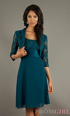 Short Lace Embellished with Jacket at PromGirl.com I like this color, but it might be a bit matronly on someone 12-17