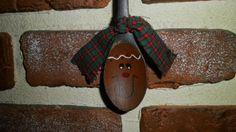 Primitive Gingerbread Hand Painted Wooden Spoon Ornament. $4.00, via Etsy.