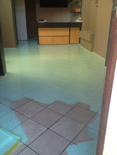 painted tile floor using B I N primer and Behr concrete   garage     Painted tile  I wouldn t mind doing this in the kitchen    Painting  tilesFloor paintingCeramic