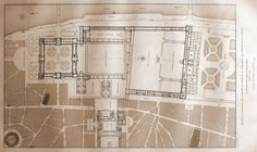 """""""Reunion and Achievement of the Tuileries, the Louvre, and the Palais Royal. Architecture Sketches, Classical Architecture, Architecture Plan, Louvre Palace, Random Access, Palais Royal, Architectural Drawings, Beautiful Drawings, Building Plans"""