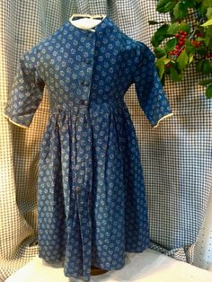 Old Indigo Calico Girl's Dress by MausandFigge on Etsy