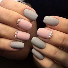 Manicure interesting ideas and novelties of the design - Nageldesign - Nail Art - Nagellack - Nail Polish - Nailart - Nails - Pink Gel Nails, Matte Nail Polish, Grey Matte Nails, Black Nail, Acrylic Nails, Matte Black, Nail Polishes, Nail Nail, Gel Polish