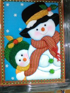 Resultado de imagen para cuadros en falso patchwork navideños Christmas Sewing, Christmas Items, Felt Christmas, Christmas Snowman, Christmas Projects, Holiday Crafts, Christmas Ornaments, Snowman Crafts, Craft Stick Crafts