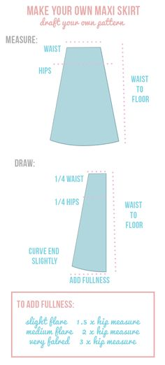 How to make an easy maxi skirt. A easy step-by-step guide to help you create the… How to make an easy maxi skirt. A easy step-by-step guide to help you create the perfect DIY maxi skirt Sewing Basics, Sewing Hacks, Sewing Tutorials, Sewing Tips, Dress Tutorials, Sewing Patterns Free, Free Sewing, Clothes Patterns, Coat Patterns