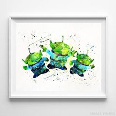 Aliens Toy Story Wall Art Disney Watercolor Poster Home Decor Baby Room -  Prices from $9.95 - Click Photo for Details - #watercolor #babyroom  #christmasgifts #nursery #babyshower #poster #ToyStory #Disney