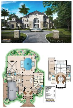 G2-6549 - two-story waterfront Waterford house plan with 6,549 square feet of living area. 4 bedrooms, 5 full baths, 1 half bath, 4 car garage.