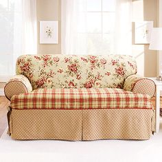Add the charm of a country cottage to your home decor while protecting your furniture from spills, stains and pet hairs with Lexington Furniture Protectors from Sure Fit. This rustic mixed-print look combines a floral print with two plaids in cotton. Loveseat Slipcovers, Couch Cushions, Furniture Slipcovers, Furniture Covers, Shabby Chic Furniture, Cottage Furniture, Furniture Design, French Country Living Room, French Country Decorating