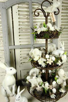 Osterdeko Etagere Hase Eier Weiß Rost Shabby Vintage Ostern Deko Landhaus Blumen