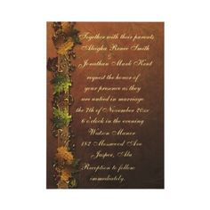 Autumn's Song Wedding Invitation  This elegant bronze wedding invitation accented with a ribbon entwined with leaves in all the colors of a beautiful autumn day makes the perfect wedding invitation for your fall wedding. The other side is the same design where you add your photo and Thank you. All text is fully customizable. Matching pieces available.