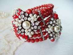 RESERVED Bright Red and Pearl & Rhinestone Wrap Bracelet Statement Jewelry Antique Copper Haskell Style
