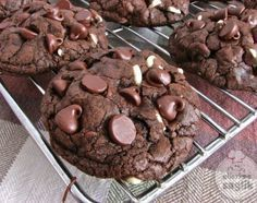 Notes: Makes about 32 small cookies. Also, the batter is very stiff and I've found that I only needed to bake the cookies for eight minutes or so. ---Death By Chocolate Chip Cookies, the most chocolatey double chocolate chip cookie ever Double Chocolate Chip Cookies, Death By Chocolate, Chocolate Cookie Recipes, Cookie Desserts, Chocolate Flavors, Just Desserts, Delicious Desserts, Dessert Recipes, Yummy Food