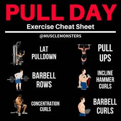What's your favourite pull day exercise? Are you looking for a done-for-you programme that is proven to maximise muscle growth? Then here is the perfect article to help you to achieve the perfect pull-up! Muscles in your back (specifically the lats traps Workouts For Teens, Exercise For Kids, Fun Workouts, At Home Workouts, Workout Exercises, Weight Exercises, Push Pull Legs Workout, Love Handle Workout, Push Pull Workout Routine
