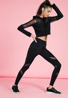 Missguided - Active Mesh Panel Gym Leggings Black. Follow the board for more inspiration!
