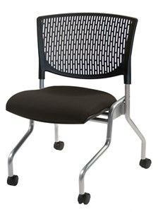 Clear Design The Scope II mobile armless nesting chair in black fabric seat and platinum frame.