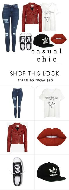 """Casual Chic"" by jadedragon23 ❤ liked on Polyvore featuring Topshop, WithChic, IRO, Lime Crime, Converse and adidas Originals"
