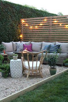 Outdoor Privacy Screen With Sherwin-Williams. DIY Pea Gravel Patio. Painted Dining Table With Wicker Chairs. Modern Rustic Privacy Screen With Baja Beige Super Deck Stain. Outdoor DIY Kitchen. Outdoor Sectional With Firepit. Rattan Chair Ikea
