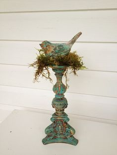 French Nordic Shabby Bird Candle Holder Vintage Candle Stick Turquoise Chalk Paint Dark Wax, Rustic Wedding Table Center Piece on Etsy, $63.00