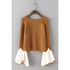 Yoins Cute Brown Round Neck Long Flares Sleeves Sweater ($29) ❤ liked on Polyvore featuring tops, sweaters, coffee, round neck top, flared sleeve top, coffee sweater, round neck sweater and bell sleeve tops