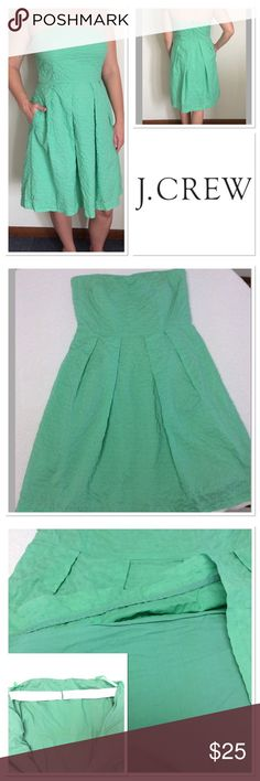 "8 J CREW green 100% cotton strapless dress Very cute and comfortable J. CREW green pleated textured cotton dress. Discreet pockets make this super casual and has elastic back strap for better fit. The dress is lined. Has to go as green is not my color, though it breaks my heart. I love this style of dress. Size tag has been removed and hangar straps are shortened to hang better.  Measurements taken laying flat: bust: 15.5"" , length 30.5"", empire waist 14.25"" J. Crew Dresses Strapless"