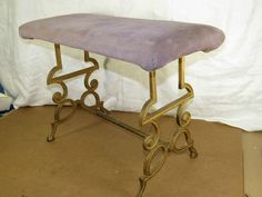 Ornate Cast Iron Victorian Vanity Stool,Fireside-Garden Bench Antique Wood+Cloth