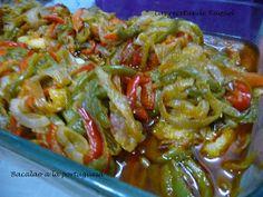 Las recetas de Raquel: Bacalao a la portuguesa Flan, Guacamole, Salsa, Seafood, Cabbage, Food And Drink, Cooking Recipes, Tasty, Snacks