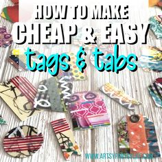Tips and ideas for how to make tags and tabs for your junk journals or mini albums using craft supplies you have laying around and scrap papers! These are super cute for adding a pop of colorful ephemera to your projects! Adult Crafts, Washi Tape, Mini Albums, Craft Projects, I Am Awesome, Magazine, Tags, Warehouse, Extended Play