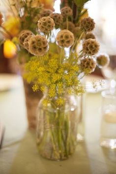 Fresh wildflower centerpieces, of course Yellow Wedding Flower Arrangements, Wildflower Centerpieces, Yellow Wedding Flowers, Brown Flowers, Simple Centerpieces, Wild Flowers, Floral Arrangements, San Francisco Art Galleries, Flower Girl Bouquet