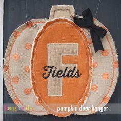 Made entirely in the hoop!  Easy multi-hooping process extends your hoop size.  Hang to Dry Applique - Pumpkin Door Hanger, $5.99 (http://www.hangtodryapplique.com/pumpkin-door-hanger/)