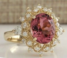 2b3264a46021e 4-61CTW-NATURAL-PINK-TOURMALINE-AND-DIAMOND-RING-14K-SOLID-YELLOW-GOLD