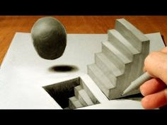 ▶ Anamorphic Illusion, Drawing 3D Staircase, Time Lapse - YouTube
