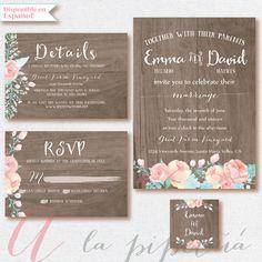 Wood Wedding Invitation Wedding RSVP card Wedding by Pipetua