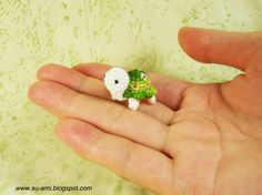 Green Flowery Turtle   Tiny Crochet Miniatures Tortoise  by suami, $25.00