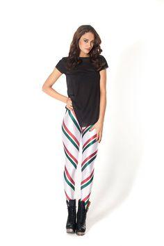 Candy Cane 2.0 Mix Leggings › Black Milk Clothing - S,M