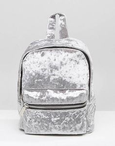 Skinnydip Crushed Velvet Mini Backpack in Grey