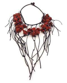 Necklace   Emillie Hunt.  Kangaroo leather, cotton thread and felt