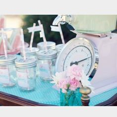 It's the little touches, when you're celebrating your little one, that count. Like personalizing these vintage-chic Kate Aspen mason jars to become a treasured reminder of baby. Choose the solid lid for filling with goodies. Or pick the straw-friendly daisy style lid. #parties #teaparty #tea #easter #pastel #beverages