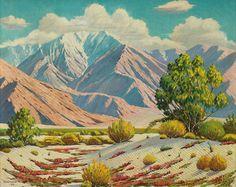 "California School, Edwards (American, early 20th century), ""Desert Scene with Mountains, California "", c. 1946"