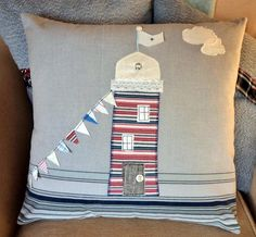 Applique Lighthouse Nautical Cushion Pillow cover with bunting by AudaciousTextiles on Etsy Nautical Cushion Covers, Nautical Cushions, Nautical Quilt, Cute Cushions, Freehand Machine Embroidery, Free Motion Embroidery, Applique Cushions, Sewing Pillows, Futons