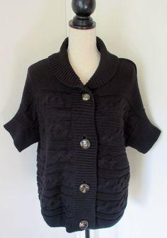 Talbots Black Cable Knit Dolman Sleeve Cardigan Sweater Sz L Button Front Chunky #Talbots #Cardigan
